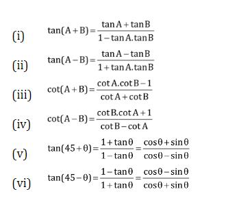 Tan (A+B) , Tan(A-B), Cot(A+B), Cot(A-B) Identities