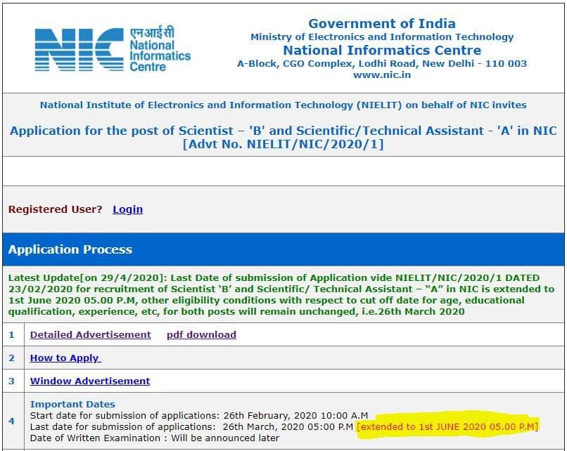 NIELIT भर्ती 2020: 495 रिक्तियों के लिए ऑनलाइन आवेदन करने की आज अंतिम तारीख_50.1
